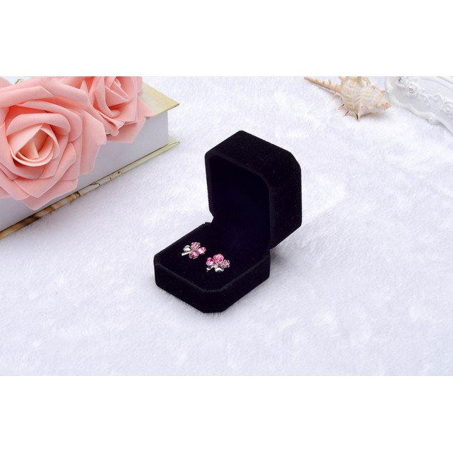 Luxuxy Velvet Wedding Earring Ring Jewelry Pendant Display Box Black