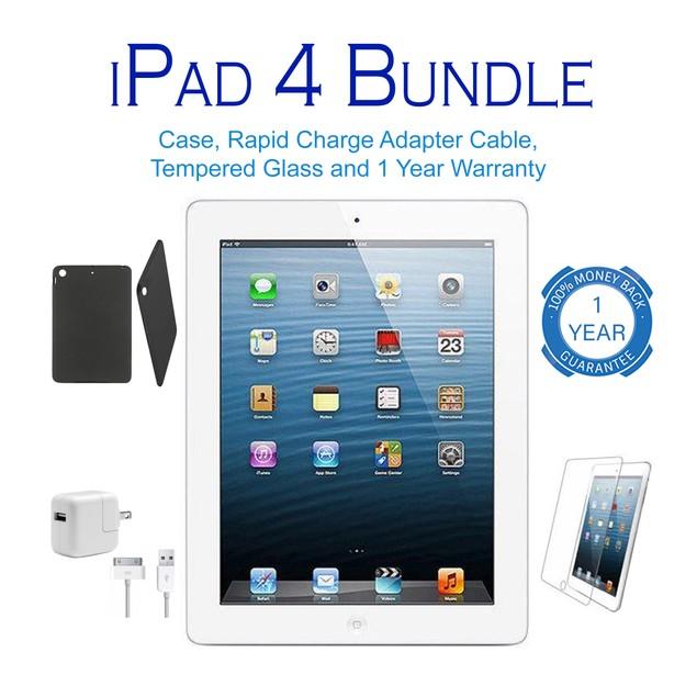 Apple iPad 4 Wifi Bundle 16GB-64GB (Charger, Stylus, Case, Screen)
