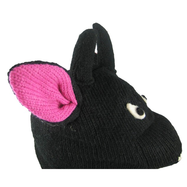 Wool Black Bull Face Pilot Cap W/ Pom Poms Womens Cold Weather Hats