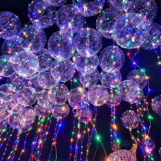 "18"" LED balloon transparent bubble balloon w/ 3M LED strip- 5 Pack"