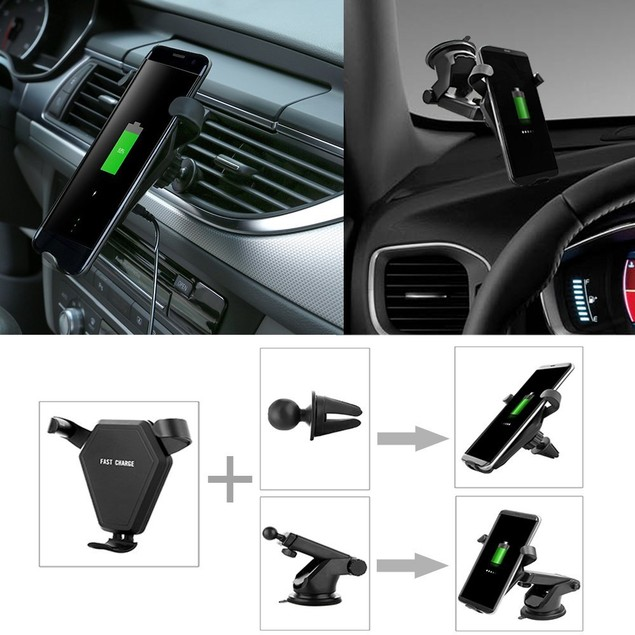 Qi Universally Compatible Wireless Car Charger for iPhone and Android