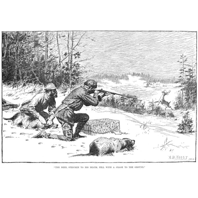 Deer Hunting, 1883. /N'The Deer, Stricken To His Death, Fell With A Crash T