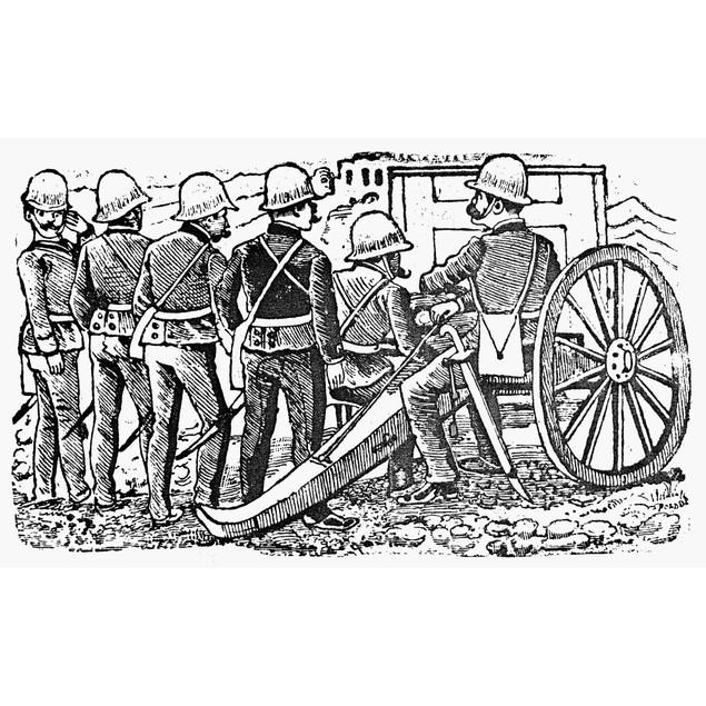 Posada: The Artillerymen. /Nzinc Engraving, 1912, By Jos_ Guadalupe Posada.