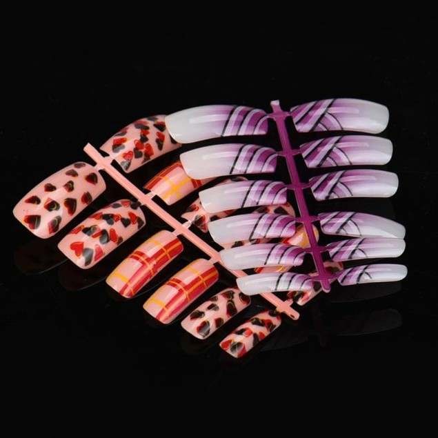 144pcs Mixed False Nail Tips Artificial Fake Nails Art Acrylic Manicure Gel