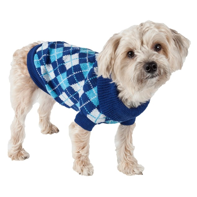 Argyle Style Ribbed Fashion Pet Sweater