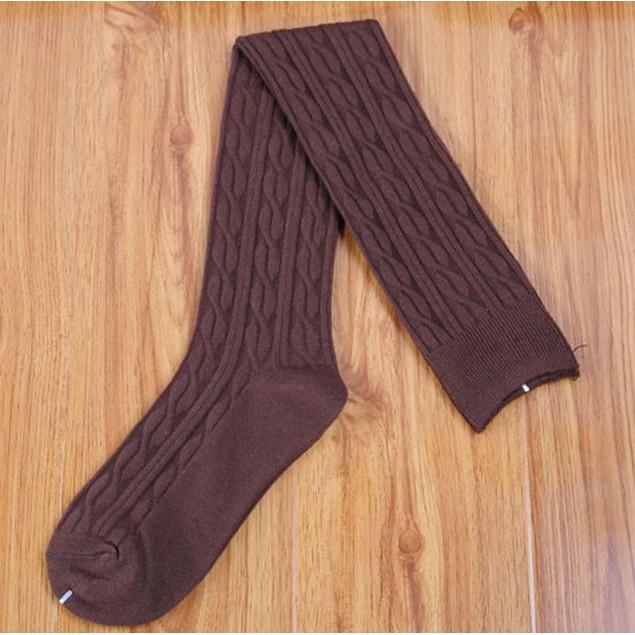 New Cotton Women Knit Over Knee Stocking Spiral Pattern High Socks
