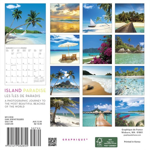 Island Paradise Mini Wall Calendar, Beaches by Calendars