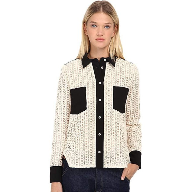 See by Chloe Women's Lace Button Up Top Black/Ivory 1 40 (US 6)