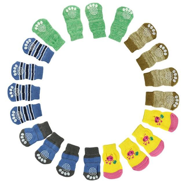 4-Piece Set: Anti-Skid Knit Socks for Pets