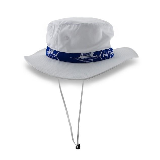 Guy Harvey White Booney Hat Blue Sailfish Band Mens Sun Hats