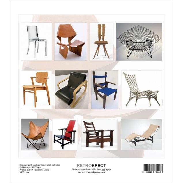 Designer 20th Center Chairs Easel Calendar