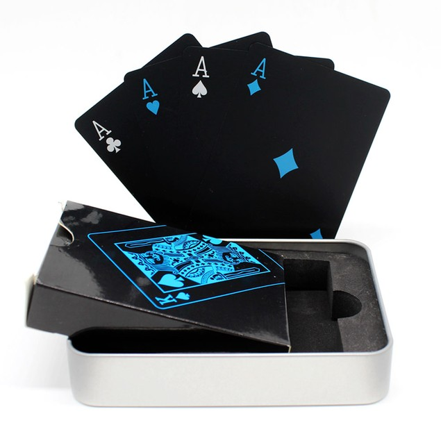 Waterproof Black Poker Cards - Free Metal Case