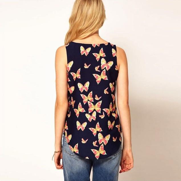 Women Butterfly Print Sleeveless Chiffon Tank Top Shirts Crew Vest
