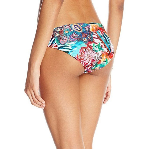 Luli Fama Women's Like a Flame Side Tab Reversible Full Bikini Bottom