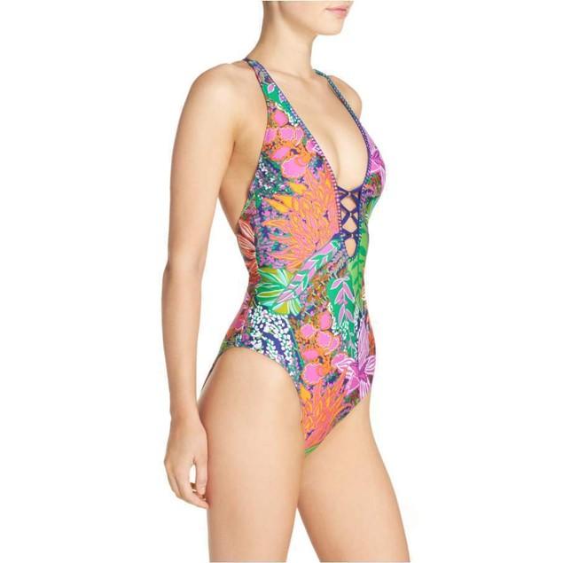Trina Turk Women's Tropic Escape V-Plunge One Piece Swimsuit, Multi SI