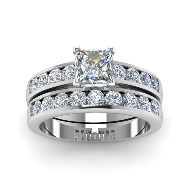 925 Sterling Silver 2pc Emerald Cut Cubic Zirconia Engagement Rings Set.