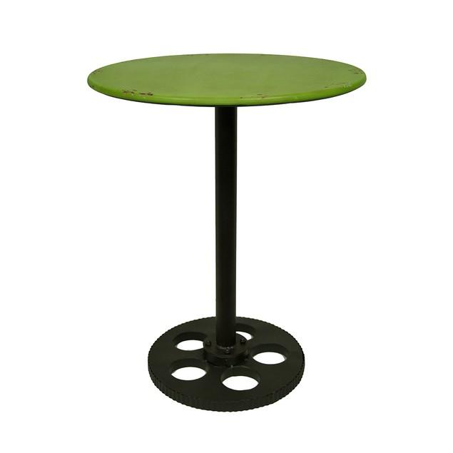 Green Vintage Finish Metal Film Reel Pedestal Side Side Tables