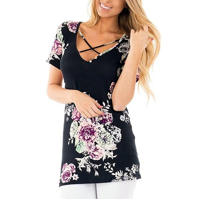 Floral Criss Cross Blouse