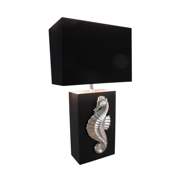 Chrome Plated Seahorse Table Lamp With Fabric Table Lamps