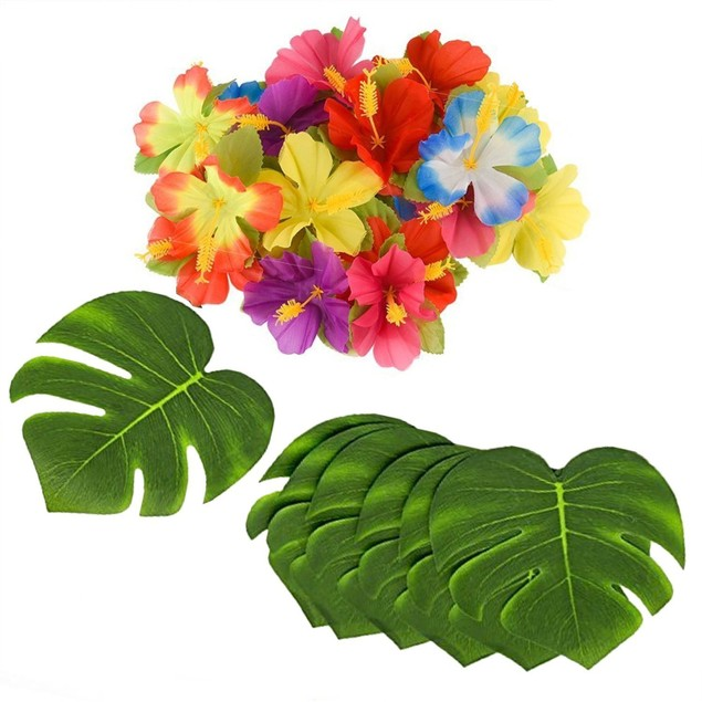 "96 Piece Tropical Jungle 8"" Leaves Hawaiian Hibiscus Flower"