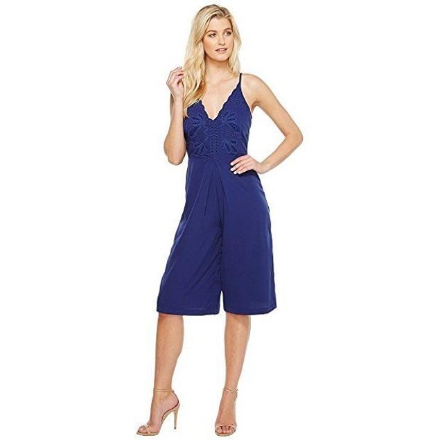 Adelyn Rae Women's Emelia Woven Culotte Navy Jumpsuit SZ:medium