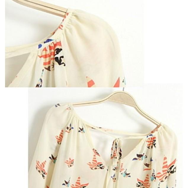 Cream V-Neck Colorful Dove Print Chiffon Blouse