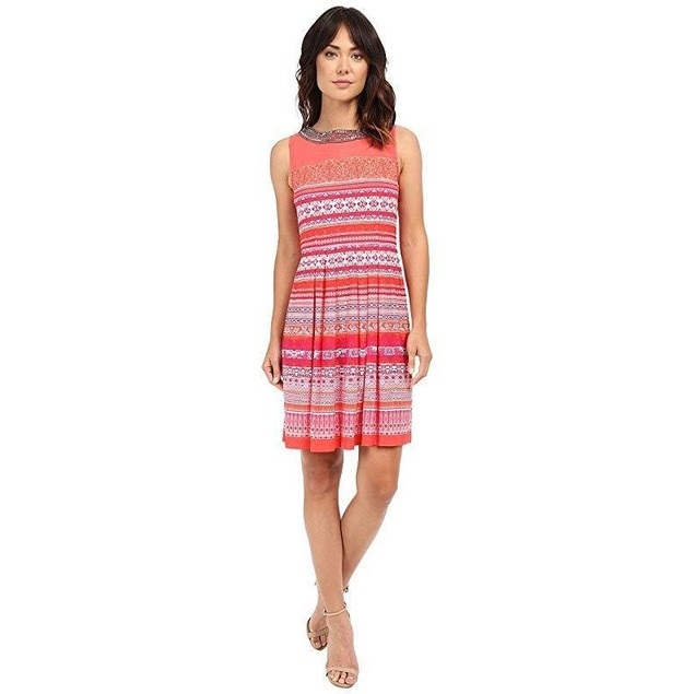 Christin Michaels Women's Pardenone Dress Coral/Purple Dress 12