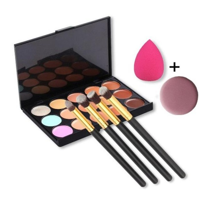 15-Color Concealer Palette with 4 Brushes & 2 Makeup Puffs