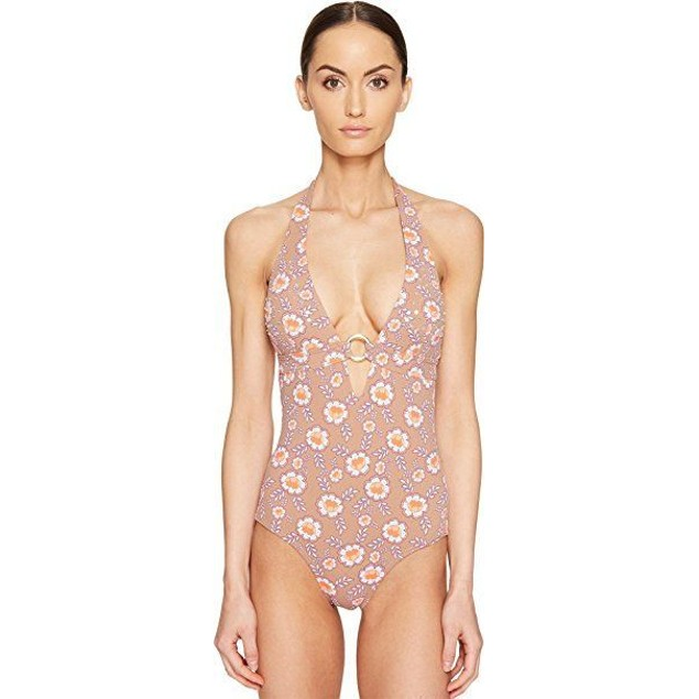 NWT Letarte Women's Embellished One-Piece Bronze Multi Swimsuit SIZE L