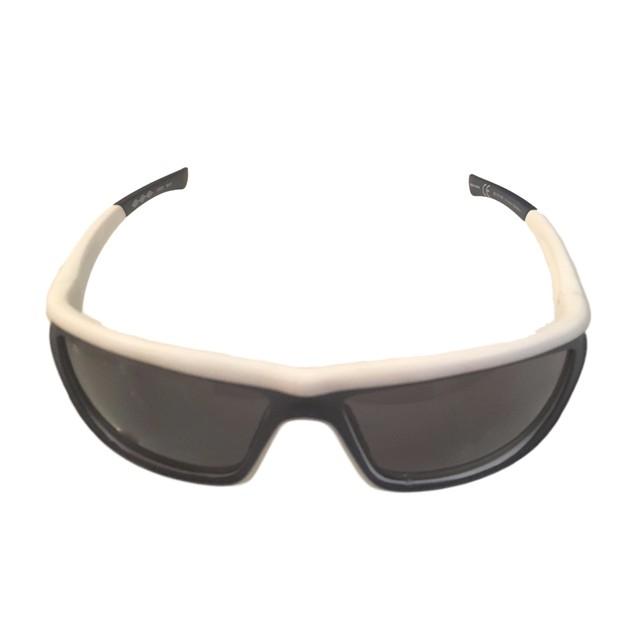 Umbro Mens Sunglass Black /  White, Smoke Lens Plastic Sport Wrap GS02