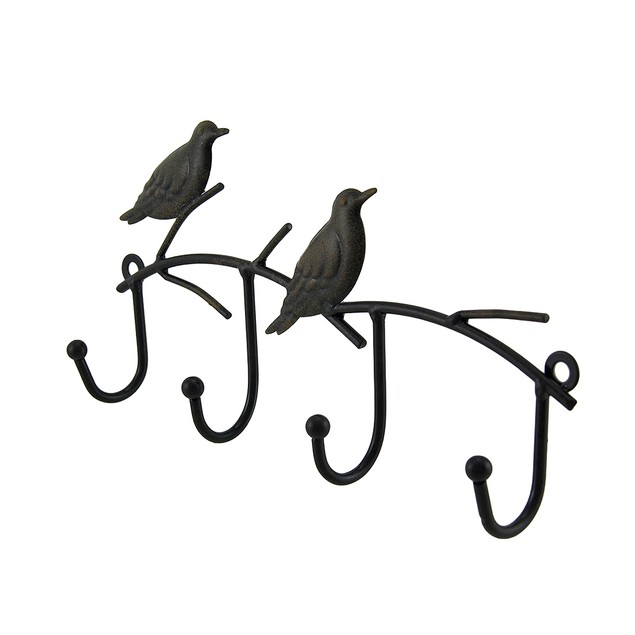 2 Piece Rustic Brown Birds On Branches Key Holder Decorative Wall Hooks