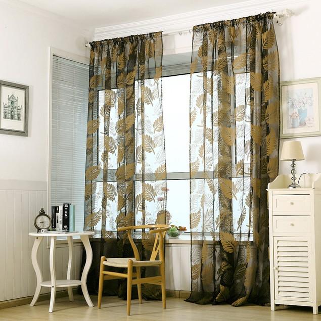 1 PC Leaf Tulle Door Window Curtain Drape Panel Sheer Scarf Valances