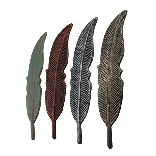 4 Piece Colored Metal Feather Wall Hanging Set Wall Sculptures