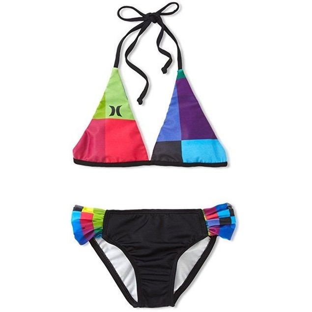 Hurley Big Girls' Kings Road Rev Halter and Tab Side Swimwear, Pink, 1