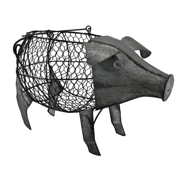 Pig Shaped Galvanized Finish Metal Chicken Wire Shelf Baskets