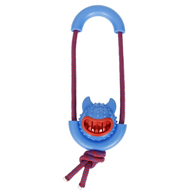 Pet Life Sling-Away Treat Launcher With Natural Jute Squeak Rubber Dog Toy