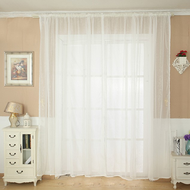 Solid Color Tulle Door Window Curtain Drape Panel Sheer Scarf Valance
