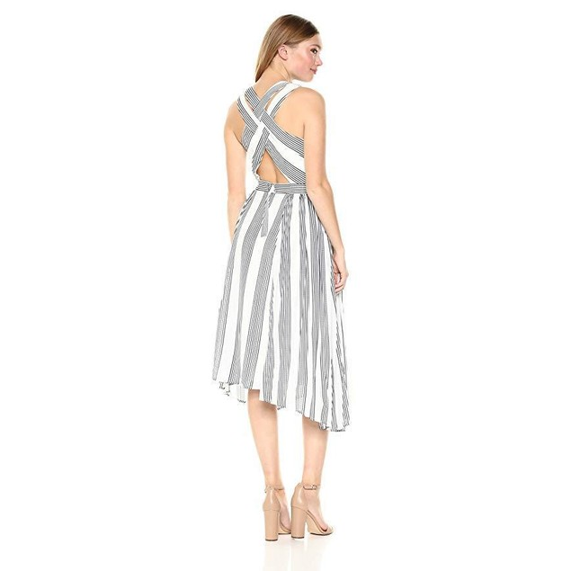 Adelyn Rae Women's Vidette Woven Striped Pleated Dress, White, SZ: S