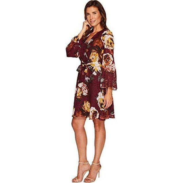 Ivanka Trump Women's Big Floral Print Georgette Dress Malbec/Blush SZ: