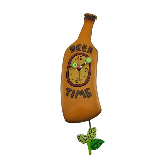 Allen Designs Beer Time Beer Bottle Pendulum Wall Wall Clocks