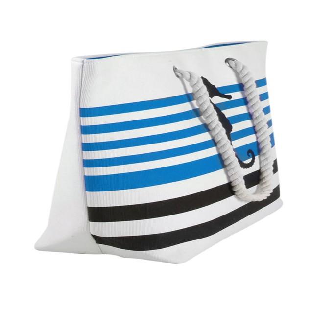 Swan Comfort Striped Canvas Beach Bag Sea Horse & Anchor Design - Tote Bag