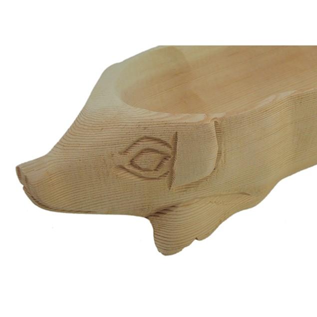 Hand Carved Pig Wooden Centerpiece Bowl Decorative Bowls
