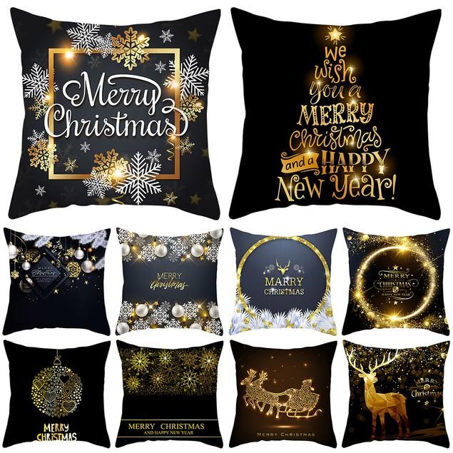 Christmas Black Gold Soft Peach Skin Velvet Polyester Square Pillow Cases