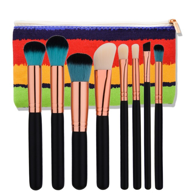 8pcs Makeup Brushes set Fondation Eyeshadow Cosmetic Tool with Leather 97