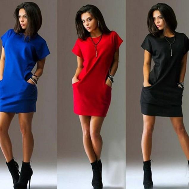 Woman Fashion Solid Short Sleeve O Neck Dress
