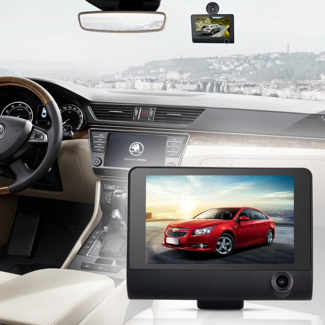New Three shots Dual Lens 4'' HD 1080P Vehicle Dash Cam Rear Video Camera