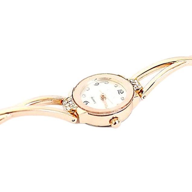Women's Rose Gold Plated Rhinestone Round Dial Analog Wrist Watch Bracelet