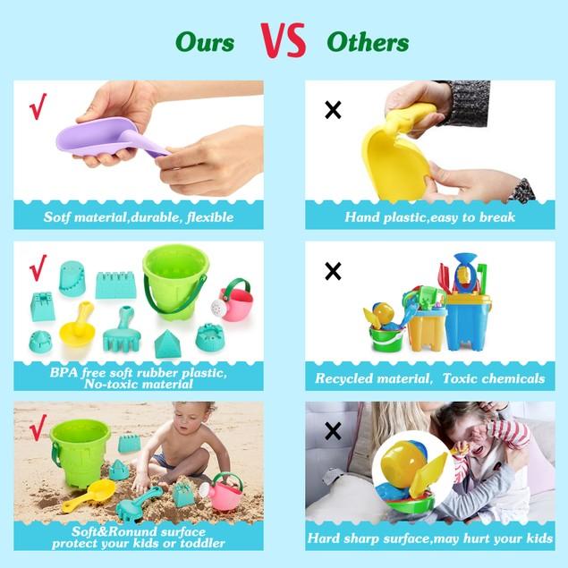 Fitnate Beach Toys Set Soft Plastic Pool Toys / Bath Toys  (BPA Free)