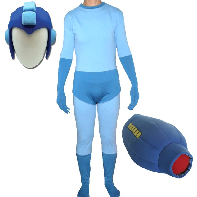 Mega Man Adult Costume Spandex Body Suit With Buster Glove & Helmet Megaman