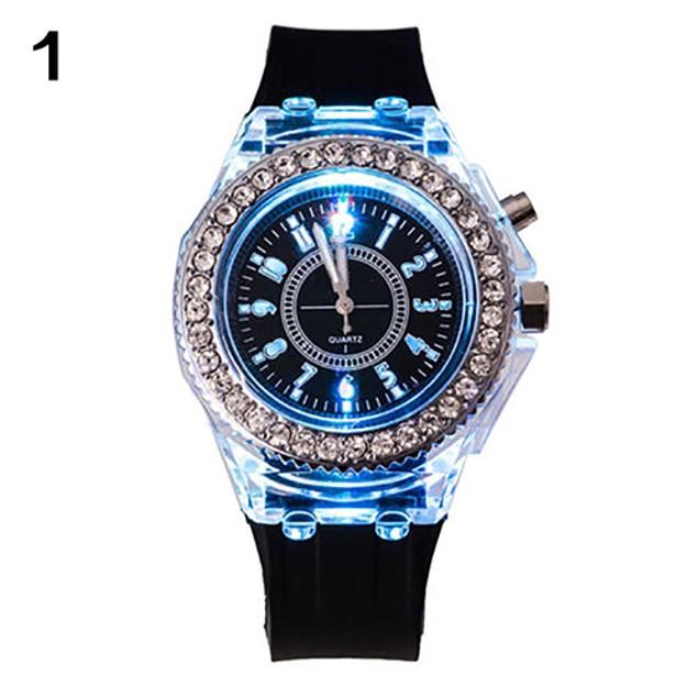 Unisex Sports Waterproof LED Silicone Band Quartz Wrist Watch